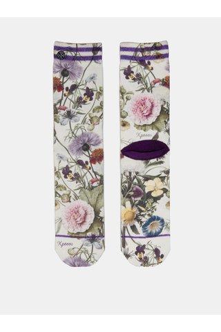 Zeleno-bílé dámské květované ponožky XPOOOS