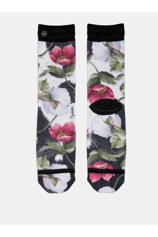 Černo-bílé dámské květované ponožky XPOOOS
