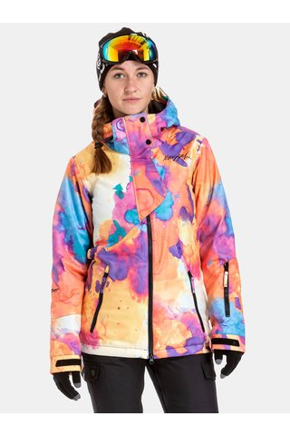 Geaca roz-oranj impermeabila de dama de snowboard NUGGET Anja