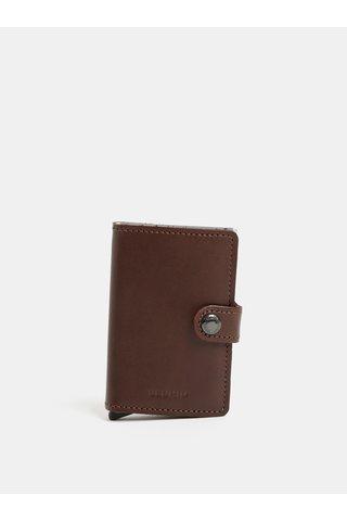 Tmavě hnědá pánská kožená peněženka s pouzdrem na karty Secrid Miniwallet