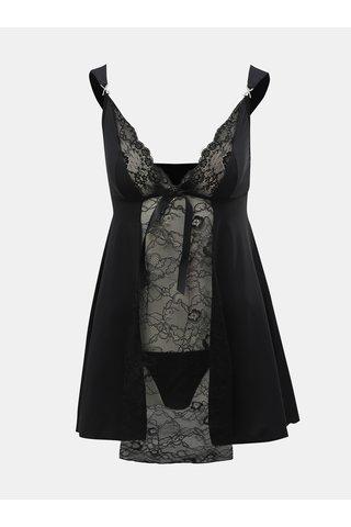 Sada noční košilky s mašlí a tang v černé barvě Obsessive