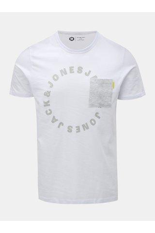 Tricou alb cu buzunar la piept si imprimeu Jack & Jones Moral