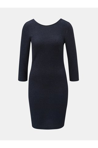 Rochie albastru inchis mulata stralucitoare cu maneci 3/4 Jacqueline de Yong