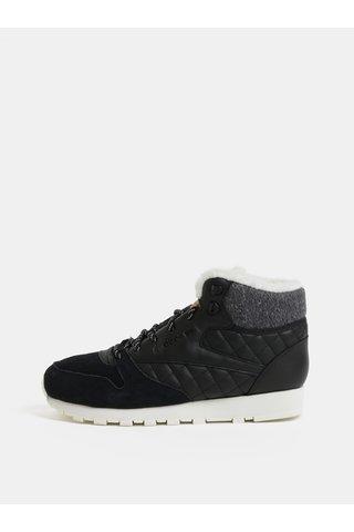 Pantofi sport scurti negri din piele de dama de iarna Reebok Classics