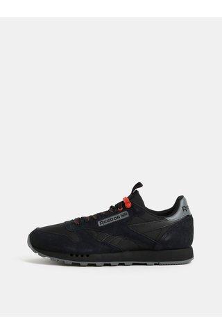 Pantofi sport barbatesti negri cu detalii din piele intoarsa Reebok Classic