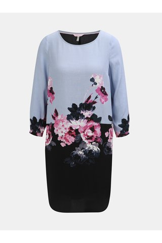 Rochie negru-albastru florala cu maneci 3/4 Tom Joule