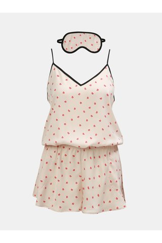 Set de salopeta pijama si  masca roz deschis cu model DKNY