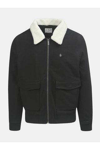 Jacheta neagra din lana cu guler calduroas detasabil Original Penguin Sherpa