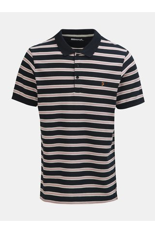 Růžovo-modré pruhované polo tričko Farah Marcel