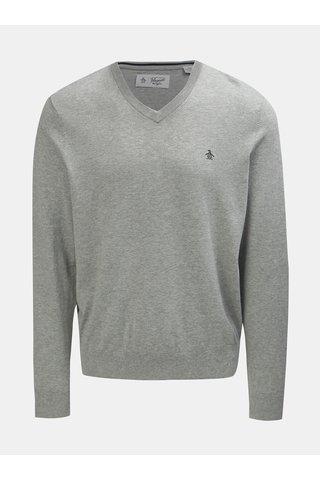 Světle šedý žíhaný svetr s véčkovým výstřihem Original Penguin
