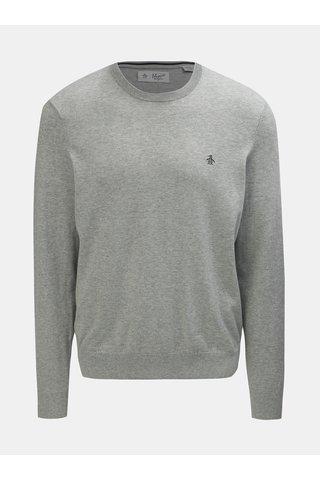 Světle šedý žíhaný lehký svetr s kulatým výstřihem Original Penguin