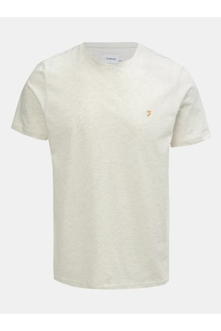 Krémové žíhané tričko s krátkým rukávem Farah Denny