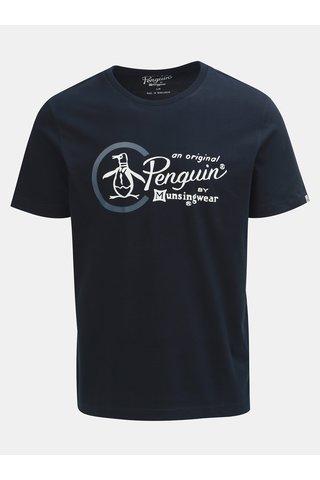 Tmavě modré tričko s potiskem a kulatým výstřihem Original Penguin