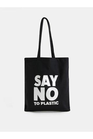 Černá plátěná taška s potiskem ZOOT Original Say no to plastic