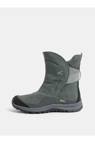 Zelené dámské kožené voděodolné kotníkové zimní boty Keen Lea