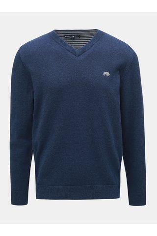 Modrý svetr s véčkovým výstřihem Raging Bull