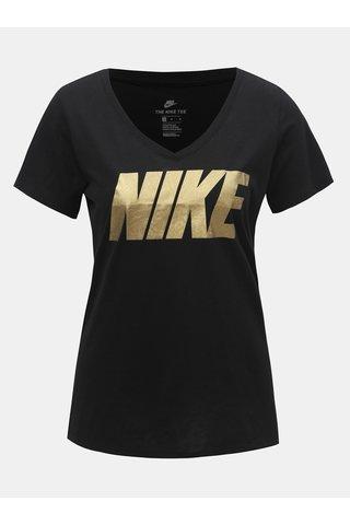 Černé dámské tričko s véčkovým výstřihem a potiskem Nike