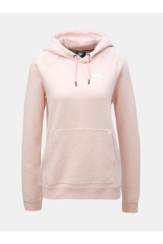 Světle růžová dámská žíhaná mikina s kapucí Nike
