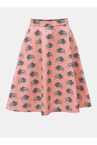 Šedo-růžová sukně s motivem pásovce annanemone