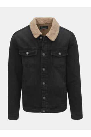 Tmavě šedá džínová bunda s umělým kožíškem Blend