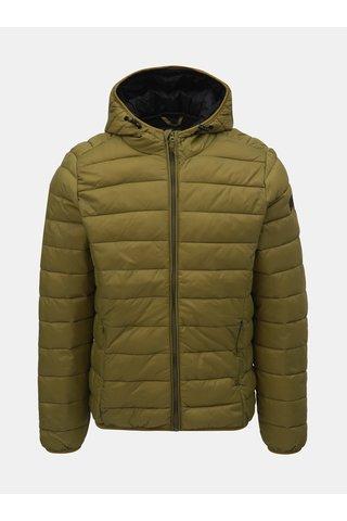 Zelená prošívaná bunda s kapucí Blend