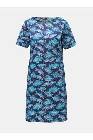 Tmavě modré šaty s motivem kaprů annanemone