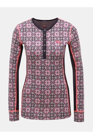 Fialové vlněné funkční tričko s knoflíky Kari Traa Rose