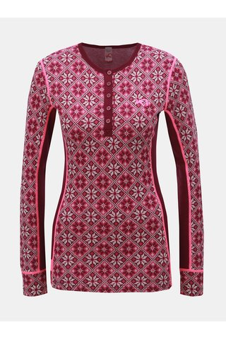 Tmavě růžové vlněné funkční tričko s knoflíky Kari Traa