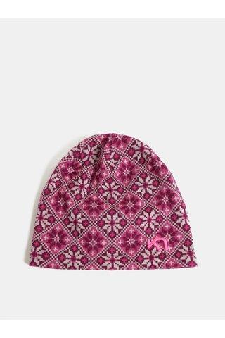 Tmavě růžová vlněná vzorovaná čepice Kari Traa Rose