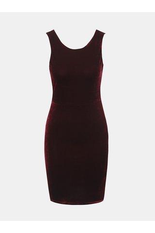 Vínové sametové šaty s mašlí TALLY WEiJL