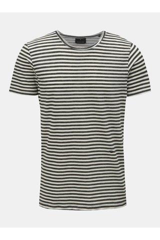 Zeleno-bílé pruhované tričko s kulatým výstřihem JUNK de LUXE