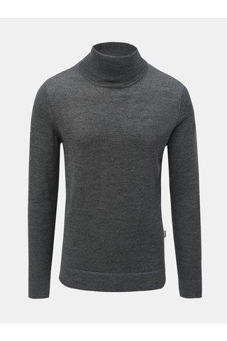 Šedý svetr s rolákem z Merino vlny Lindbergh