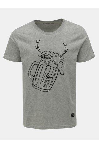Světle šedé žíhané tričko s vánočním motivem Shine Original Xmas