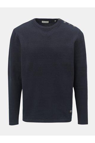 Tmavě modrý vzorovaný svetr s knoflíky u krku Shine Original