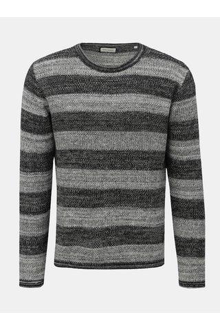 Bílo-černý pruhovaný svetr Shine Original Roll edge