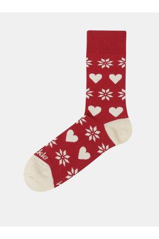 Červené unisex ponožky s vánočním motivem Fusakle Na Vianoce doma