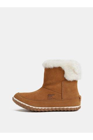 Hnědé dámské semišové zimní kotníkové boty s vnitřním umělým kožíškem SOREL OUT N ABOUT