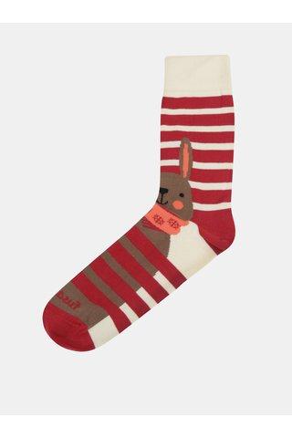 Krémovo-červené unisex ponožky Fusakle No pockaj zajo