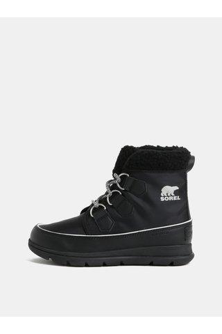 Černé dámské zimní voděodolné kotníkové boty SOREL Explorer carnival