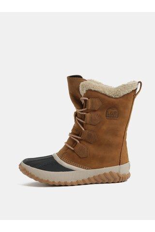 Hnědé dámské semišové voděodolné zimní boty SOREL Newbie