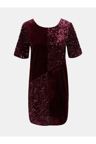 Vínové sametové šaty s flitry Dorothy Perkins