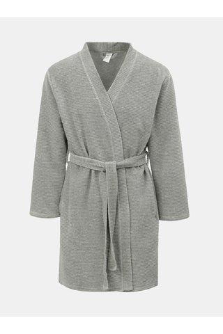 Světle šedý dámský žebrovaný župan Calvin Klein Underwear