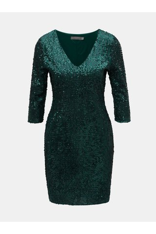 Tmavě zelené flitrované šaty s 3/4 rukávem Dorothy Perkins Petite