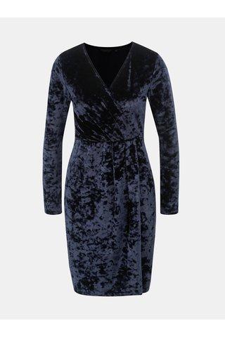 Tmavě modré sametové šaty s překládaným výstřihem Dorothy Perkins