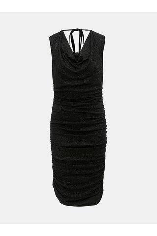 Černé pouzdrové šaty se třpytivým efektem a  řasením na bocích Billie & Blossom