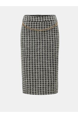 Černo-krémová vzorovaná sukně s řetězem ve zlaté barvě Dorothy Perkins