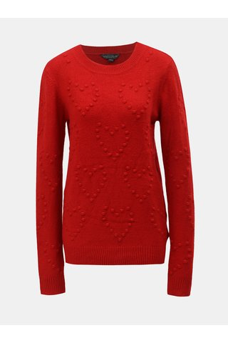 Červený svetr s plastickým vzorem Dorothy Perkins Tall