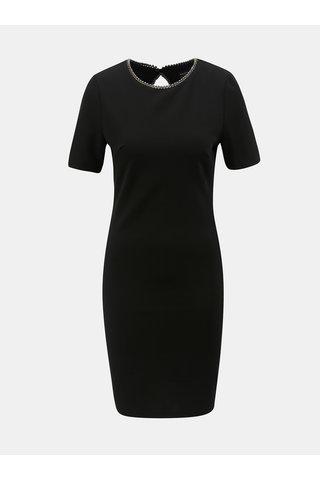 Černé šaty s ozdobným lemem u krku Dorothy Perkins