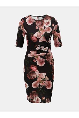 Růžovo-černé květované šaty s řasením na břiše Dorothy Perkins