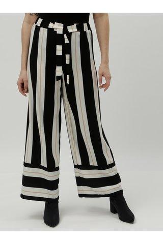 Krémovo-černé pruhované široké kalhoty s vysokým pasem Dorothy Perkins